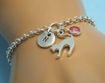 Silver cat bracelet Cat charm bracelet Teen girls Silver cat jewelry Cat bracelet charm Cat pendant Kitty cat bracelet Kitty cat jewelry