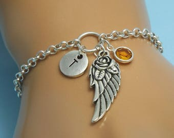 Silver wing bracelet Angel gift Personalized angel wing bracelet Silver angel wing jewelry Silver wing charm Angels bracelet Angels wings