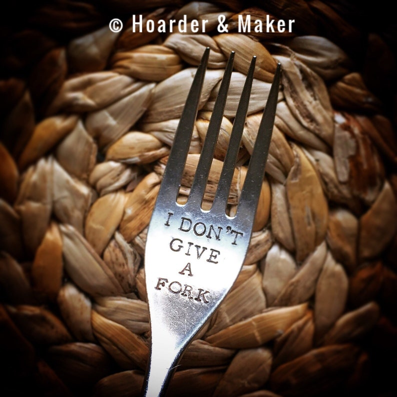 I Don/'t Give A Fork HAND STAMPED ENGRAVED Spoon with engraving Customisable Humourous Humour Gag Birthday Rude Sweary Foodie Gift Present