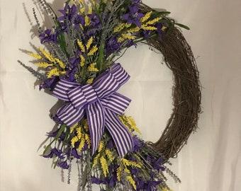Farmhouse grapevine, all occasion lavendar heather. Rustic country, purple floral