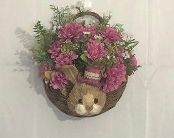 Easter wall decor, bunny hanging basket, door or porch decor