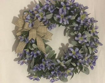 Purple floral grapevine wreath, all occasion, year round, country farmhouse wreath