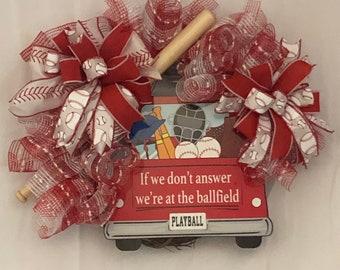 Baseball wreath, grapevine,