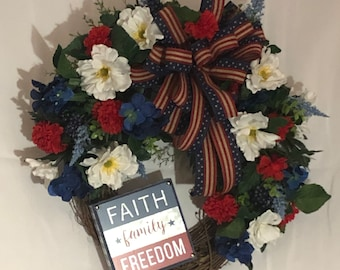 Patriotic wreath, Fourth of July, Independence Day,