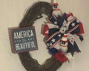 Patriotic wreath, America the Beautiful, gnome wreath