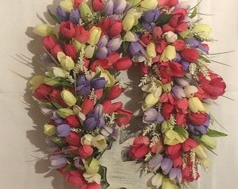 Easter wreath, bunny wreath, tulip grapevine