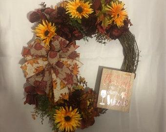 Fall wreath, thanksgiving wreath, grapevine wreath