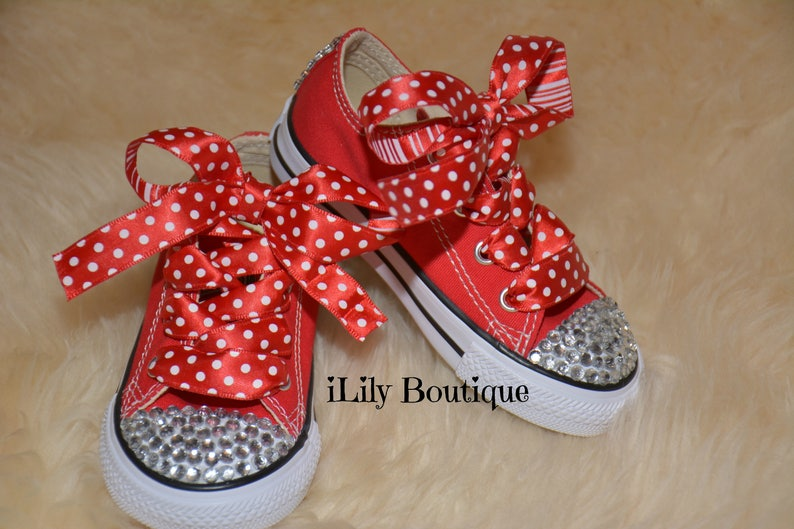 563081f8386a Toddler Converse Baby Girls Converse Red Blinged