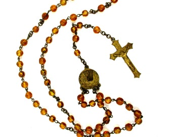 Antique Catholic Rosary Necklace,Art Deco 1930s Amber Glass Bead Rosary,Vintage Brass Rosary