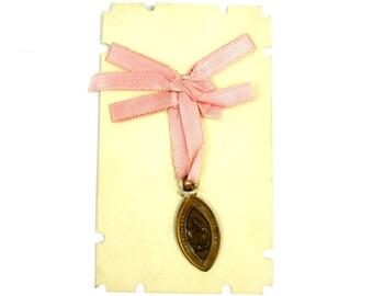 Vintage Brass Scapular Medal on Card w/ Pink Ribbon, 1940s Latin Sacred Heart Medal