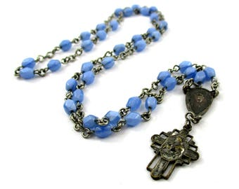 Vintage Saint Anthony Chaplet Rosary w/ St Anthony Cross Guardian Angel, 1940s St Anthony Padua Cross Rosary Chaplet Light Blue Glass Beads