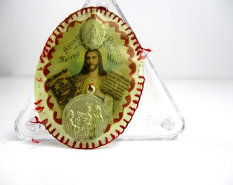 Vintage Scapular Detente Badge w/ Relics & Medals,1932 Sacred Heart Apostleship of Prayer Badge, Our Lady of Olives Medal, Miraculous Medal