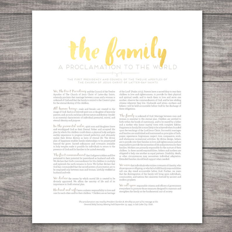 picture relating to Family Proclamation Printable titled LDS Spouse and children Proclamation Printable-Get your Measurements-Electronic Data files