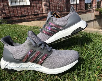 74919b31803a Crystallized Adidas Ultra Boost in Grey With Pink Swarovski Crystals