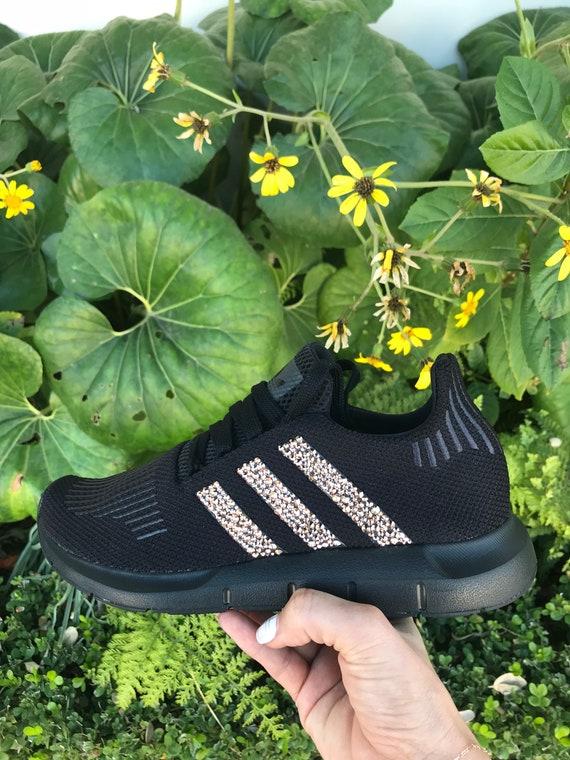Adidas Swift Run in Black with Rose Gold Swarovski  7940d8673a21