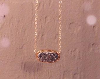 24k Gold Plated Gray Druzy Stone Necklace