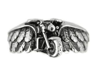 Men's and Ladies Motorcycle Angel Wing Ring Biker Angel Heavy Metal Jewelry