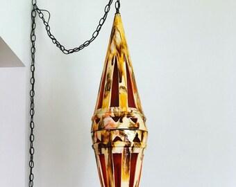 "Large vintage cone ceramic swag lamp - 40"" retro pendant lamp in drip glaze style"