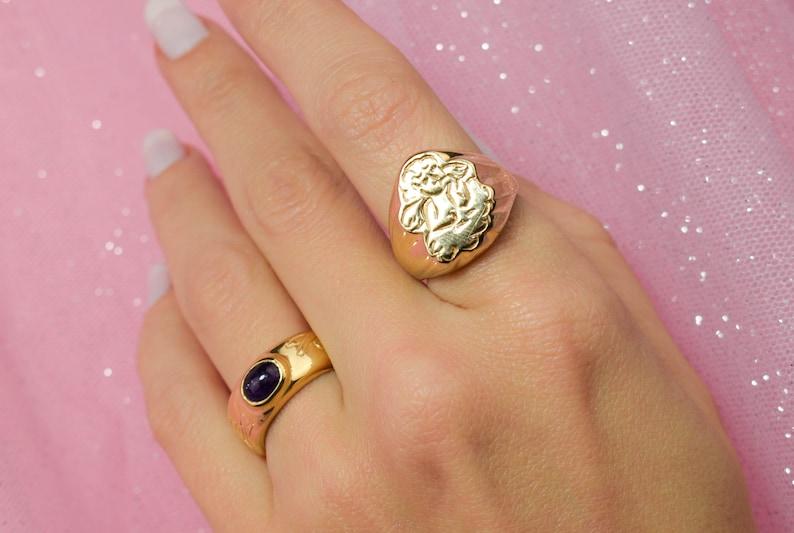 Angel ring gold signet ring