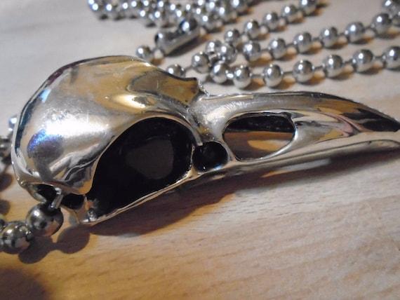 "MASSIVE SILVER RAVEN SKULL Pendant 3.25/"" 81 grams Wicca Biker rare high quality"