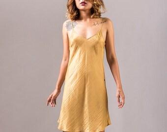100% silk V-Neck Silk Bias Cut Slip Dress/ Mustard