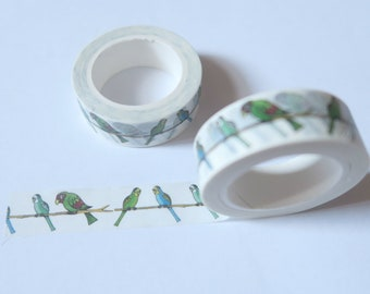 Green birds washi tape, parakeet masking tape, budgie, bird, diary accessory, bullet journal, craft tape, kids craft, planner tape, organise