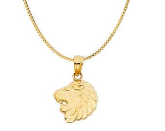 14K Gold Lion Head Pendant