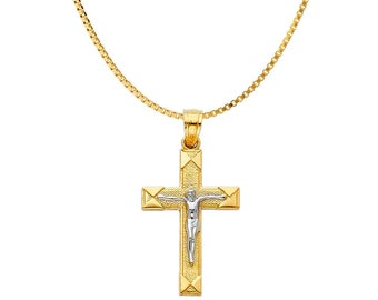 14K Solid Gold Cross Two Tone Crucifix Cross Pendant