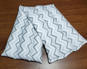 Rice Heating Pad - Microwave Heat Pad - Hot Cold Pad - Heat Therapy - Reusable - Migraine Relief - Self Care - Gray Chevron