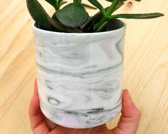Planter - Ceramic- Marbled Grey