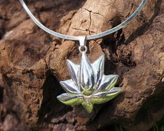 Silver Lotus Necklace - Sterling Silver Lotus Pendant - Silver Lotus Buddhist Pendant - Lotus Necklace - Silver Choker - Silver Lotus