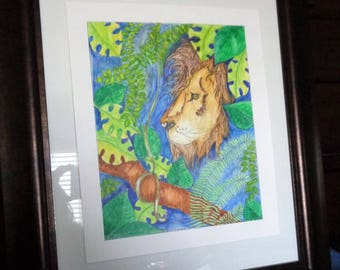 Water Color Painting Child Room   Lion Jungle King