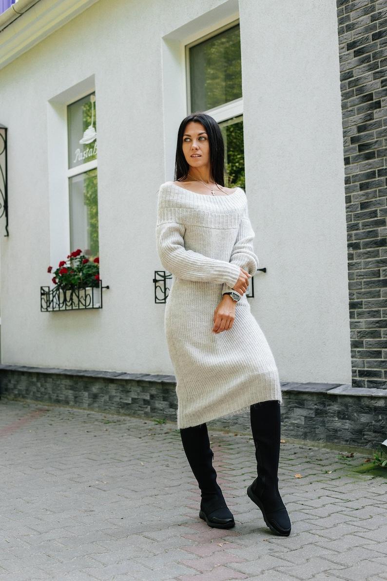 a925ff3fe33 Winter dress Open shoulder oversize tunic Casual dress Knit