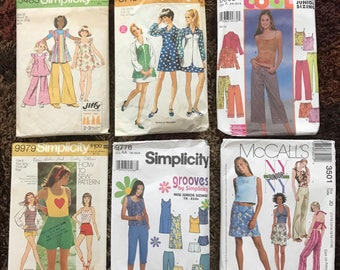 Teen Size Sewing Patterns, Lot of 6 1970's