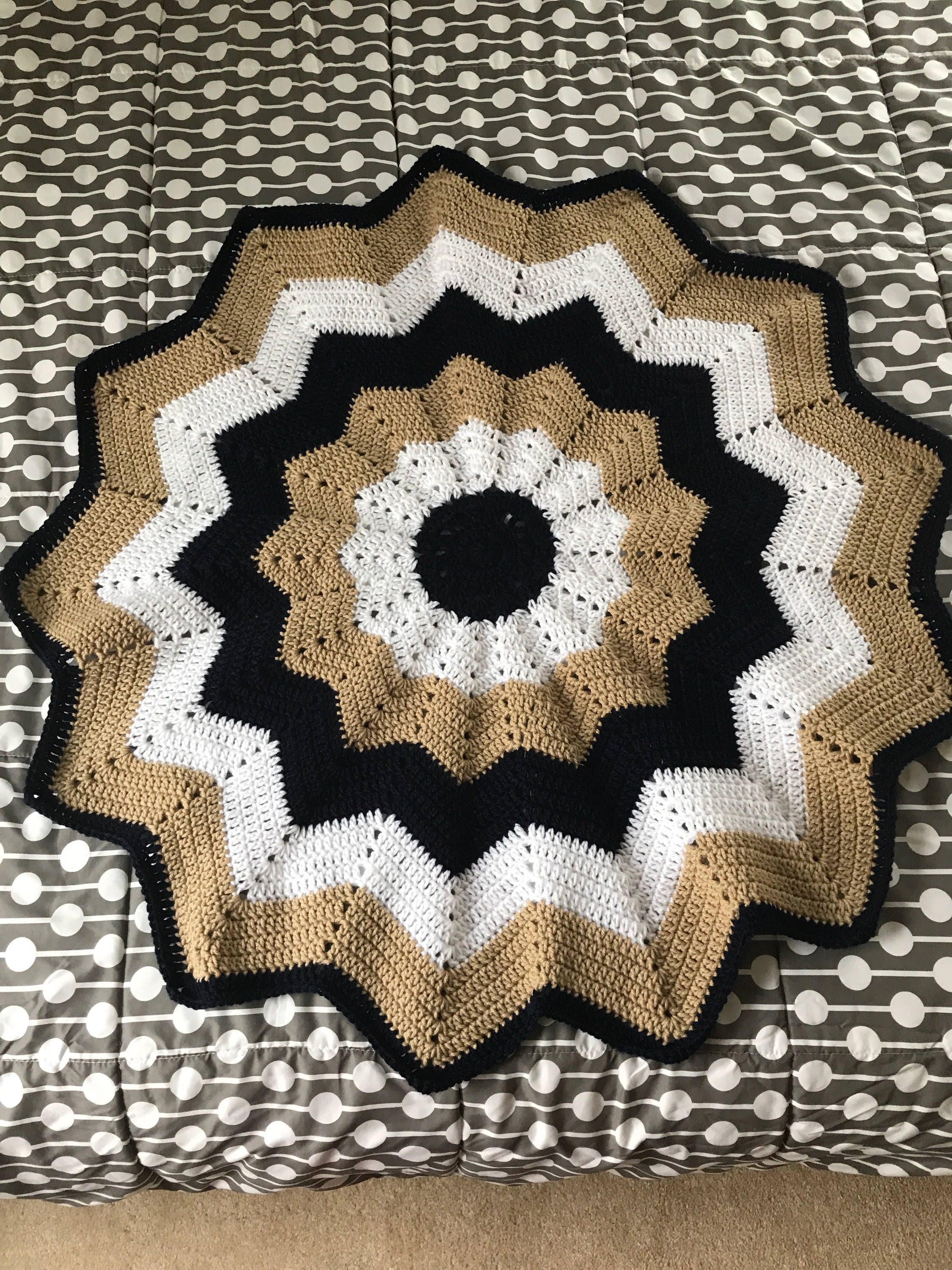 Round Star Shaped Afghan Etsy