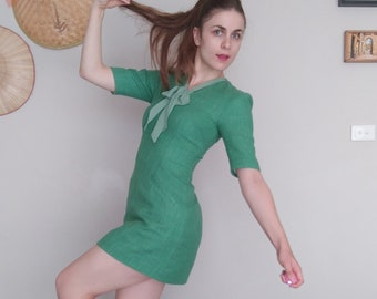 The 'Tula' Dress-emerald green-lime green-channel tweed-autumn-winter-handmade clothing-vintage clothing-pockets-bow-sleeves-dress