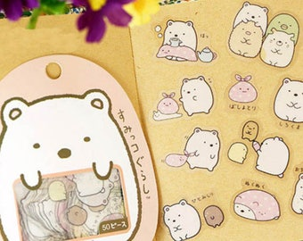 Set of 50 cute kawaii stickers.
