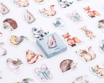 Set of 45 cute animal stickers.