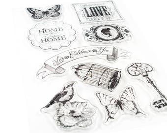 Clear stamp love bird