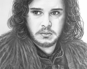 Designed, custom portrait from photo - realistic pencil Portrait - Jon Snow (game of Thrones character)