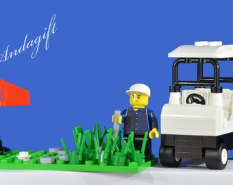 LEGO NEW golf buggy, minifigure, golf club, flag, green, stuck in the rough, custom set lego sports AAG