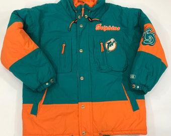 VINTAGE Mirage Miami Dolphins Jacket Adult LARGE Starter Puffer Puffy 90s Coat  Retro Old School NFL Starter Style Coat 3666f7881