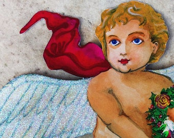 SILVER: Glitter Cherub Personalized Angel Tree Topper (multi-use 10''x 12'' DIY customize) Great for baby's 1st Christmas (Light Skin Angel)