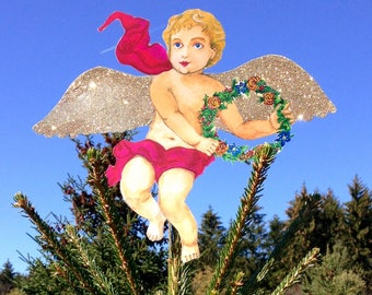 GOLD: Glitter Cherub Personalized Angel  (multi-use 10''x 12'' DIY customize) Great for baby's 1st Christmas Tree Topper (Light Skin Angel)