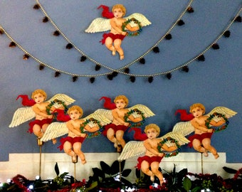 Family of Paper Angels You Can Personalize 10''x 12'' Christmas Angel Tree Topper, Holiday Mantel Decor - Set of 5 - Great Gifts