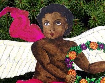Personalize it: Cherub Kid Classic (multi-use 10''x 12'' DIY customize) Great for Baby's 1st Christmas (Dark Skin Tone) Angel Tree Topper