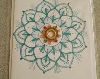 Greeting card handmade, teal blue, floral mandala design