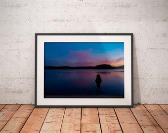 Girl on the lake print, art photograph, wall art