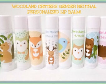 Woodland Critters Lip Balm Favors - Woodland Animals Baby Shower - Woodland Baby Shower - Free Personalization-Gender Neutral - You Pick Qty