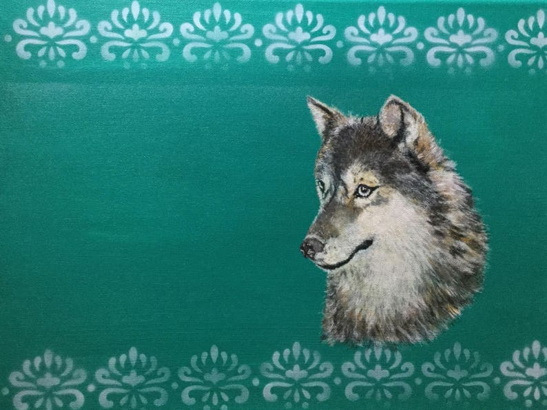 Original hand painted Grey Wolf in Acrylic image 0